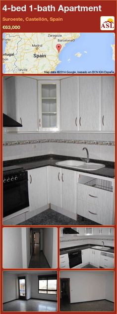 Apartment for Sale in Suroeste, Castellón, Spain with 4 bedrooms, 1 bathroom - A Spanish Life Apartments For Sale, Property For Sale, Spanish, Kitchen Cabinets, Bathroom, Bed, Home Decor