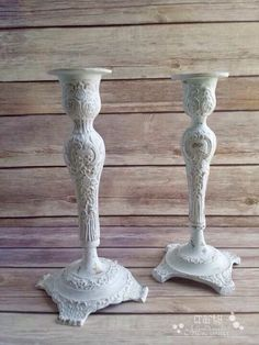 White ornate candle holders vintage chic farmhouse decor up cycled ecofriendly Ready to Ship - pinned by pin4etsy.com