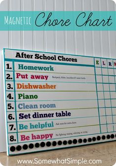 "Magnetic Chore Chart- perfect for after school craziness!- this is cute, but I wouldn't call it a ""Chore"" chart, more like a itinerary, which Anna loves now!, because I don't think being happy or homework should be considered as a ""Chore""! Chore Board, Diy Spring, Montessori, Chore Chart Kids, Weekly Chore Charts, Chore List, Charts For Kids, Family Organizer, We Are Family"
