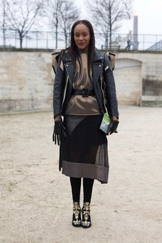 The 25 Best Street Style Snaps from Paris Fashion Week: Michelle Elie scores some serious style points for rocking H to Paris fashion week.