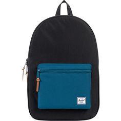 Herschel Supply Co. Settlement Laptop Backpack ($55) ❤ liked on Polyvore featuring bags, backpacks, black, laptop backpacks, black zip bag, black rucksack, backpack laptop bag and pocket backpack