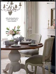Soft, Chic French...yet just like my table from Ethan Allen!
