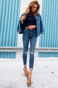 skinny jeans / jacket / black cropped / look / street style