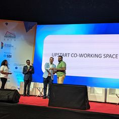 "Upstart Coworking Space won the ""Best Bootstrapped Startup Award in the Aeonian 2019 at pm on May 2019 at St. John's Auditorium, Koramangala. With startups, investors, pitch sessions, exhibitors and conference and awards night delegates."