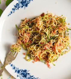 New Raw: Zucchini Fetuccini with Tomato Sauce « MAZA