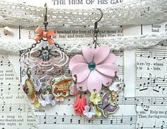 mismatch assemblage earrings flower pink mix by lilyofthevally
