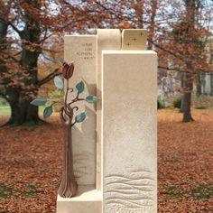 Grabmal Naturstein Bronze modern mit Rose bestellen - Poesia