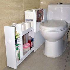 Organizedlife White Toilet Cabinet Bathroom Towel Storage