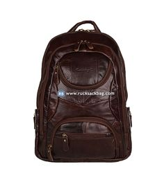 Large Capacity 18 inch Backpack Brown Leather Bag
