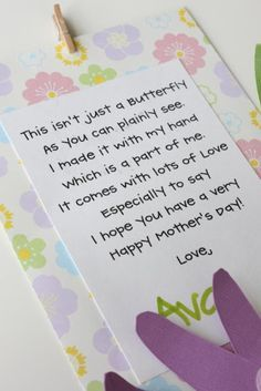@Meagan Taylor  This would be a cute poem for a mother's day project.  You could do the butterfly however you wanted.