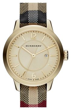 Free shipping and returns on Burberry Check Stamped Leather Strap Watch, 32mm at Nordstrom.com. A soft stitched-leather strap breathes new life into a signature Burberry watch boasting a hydraulic-stamped check pattern on the round, three-hand dial.