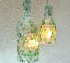 17 stunning ideas for your dollar store gems, crafts, gardening, Turn a glass bottle into a dappled lamp