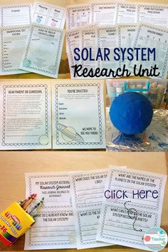 Solar System Research Unit. This unit teaches students how to use informational text to study the solar system and then an assigned planet. They will focus on one question per day in their research journal. A report and a paper mache planet are the culmin Space Activities, Science Activities, Enrichment Activities, Science Resources, Elementary Science, Science For Kids, Science Space, Earth Science, Emergency Sub Plans
