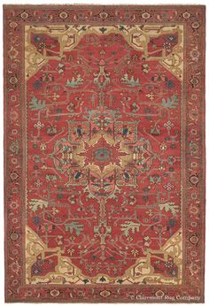 SERAPI, Northwest Persian, 8ft 0in x 11ft 6in, 3rd Quarter, 19th Century. With a sophisticated ambiance and unusually fine weave for a 19th century Persian Serapi carpet, this best-of-the-best quality, artistically virtuoso Oriental antique rug has a captivating effect on its viewer. A profusion of ethereal azure and cactus green hued vinery anchors its magically time-softened, resonant persimmon field color.