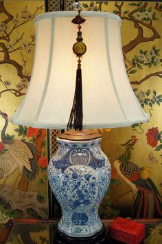 "Blue White Qing Hua Ci Porcelain Table Lamp 29""H"