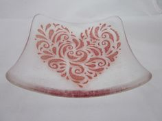 Handmade fused glass candy bowl - stippled red heart