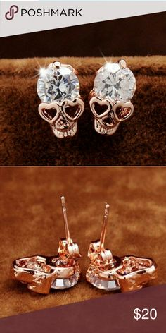Rose gold Skull Stud Earrings Super cute Rose gold filled CZ Skull Stud earrings. Even better in person! Jewelry Earrings