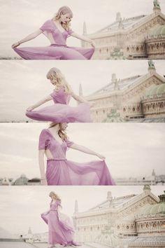 "Taylor Swift wearing a gorgeous dress in the ""Begin Again"" video... Its soooo pretty!"