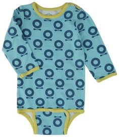 Featuring on Loubilou.com - Stunning long sleeved bodysuit from Katvig in lush petrol blue colour and iconic Katvig apple print. Katvig says 'By using organic cotton the soil ...