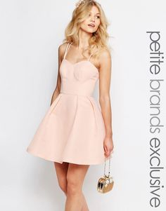 Image 1 of Chi-Chi London Petite Sateen Strappy Back Prom Mini Skater Dress