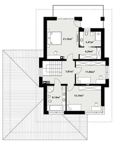 DOM.PL™ - Projekt domu TP Karat 2 CE - DOM TP2-13 - gotowy koszt budowy House Layout Plans, House Layouts, House Plans, 2 Storey House Design, Small House Design, Mediterranean Style Homes, Facade House, Home Design Plans, Design Case
