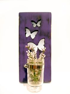 Mason Jar Vase Butterflies Candle holder Purple by ThePineNuts, $25.00