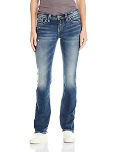 Silver Jeans Womens Tuesday Mid Rise Bootcut Jean Indigo 32x31 -- Click image to review more details.