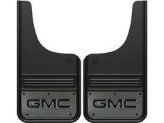 The Truck Hardware Gatorback Black GMC Text Gunmetal Cut Style Mud Flaps are designed to fit the perfectly in the wheel wells of GMC trucks and SUV's. The cut shape will fit great in the front wheel wells of full size GMC trucks and SUVs.  This includes the GMC Sierra 1500, GMC Sierra 2500, GMC Sierra 3500.  These flaps offer great protection for your truck while making looking great. The heavy duty rubber ensures that there will not be any debris that gets passed these flaps. The GMC text…