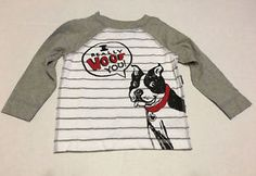 Boy Tee Shirt Sz 12 18 Months Old Navy Gray White Long Sleeve I Really Woof You | eBay
