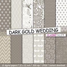 Wedding digital paper: DARK GOLD WEDDING with flowers, leaves, hearts, swans, damask, polka dots, linen, rhombs in dark gold shades