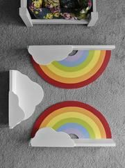 Rainbow Shelf hand made for children's and babies' room - IshBuild Cloud Shelves, Easy Shelves, Big Girl Bedrooms, Little Girl Rooms, Rainbow Bedroom, Rainbow Painting, Girl Bedroom Designs, Kids Room Art, Do It Yourself Home