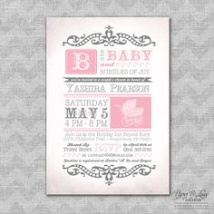 Pink and Gray Baby Shower Invitations by paperandlaceaustin, $45.00