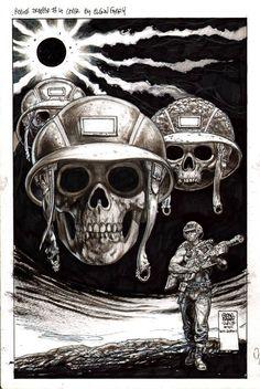 Rogue Trooper (by Glenn Fabry) Comic Book Pages, Comic Book Characters, Comic Books Art, Western Comics, Abc Warriors, 2000ad Comic, Comic Style Art, Graphic Novel Art, Comic Kunst