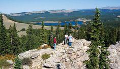 Hikers at Meadowlark Lake near Worland, Wyoming