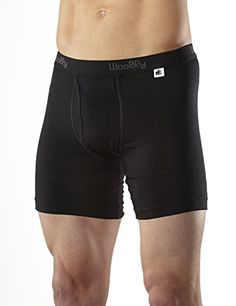5fc7635f2334c Woolly Clothing Co Mens Merino Wool Long Drop Boxer Brief Large Black **  Want additional