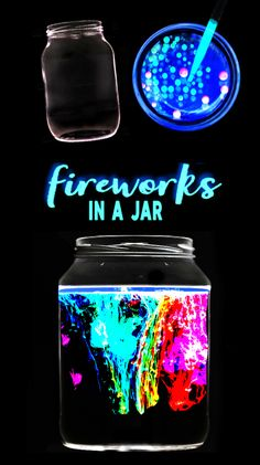 Glowing fireworks in a jar science experiment for kids. This activity is great f… Glowing fireworks in a jar science experiment for kids. This activity is great for the of July! Science Projects For Kids, Cool Science Experiments, Fun Crafts For Kids, Science For Kids, Diy For Kids, Kids Fun, Interesting Science Fair Projects, Kids Outdoor Crafts, Chemistry Science Fair Projects