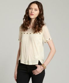 Aryn K cream embellished blouse