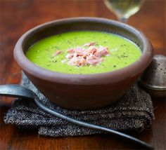 Pea & Ham Soup - we added more like 600 g of petit pois and it fed 4 for dinner. Amazing flavour.