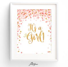 Baby shower party sign - it's a girl - coral, peach and gold glitter printable that can be used as party decoration or party sign for dessert table at a baby shower.