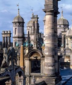 England Tourism - English history and architecture, chimney and domes, Burghley, 1577, UK.