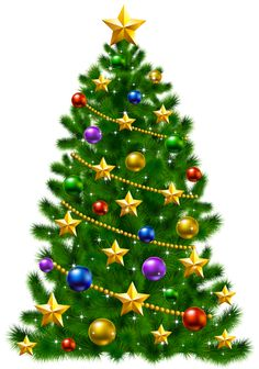 Transparent Christmas Tree with Stars PNG Clipart