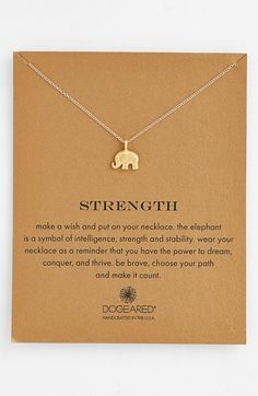 Free shipping and returns on Dogeared 'Reminder - Strength' Boxed Pendant Necklace at Nordstrom.com. A beautifully detailed elephant reminds us of our own strength and intelligence—wear this delicate pendant necklace (or give it as a gift) to represent your own power to dream and thrive.