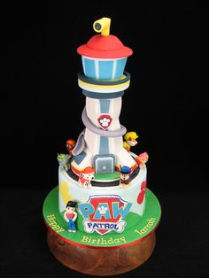 This Paw Patrol cake is all edible from the lookout tower to the figurines. The tower is made from rice crispy treats covered in fondant and sits on a chocolate mud cake. The 7 figurines were all hand made from fondant and painted to match the characters from the children's TV show. www.facebook.com/cakesbyleannerhodes