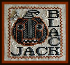 10% OFF Pre-order NEW Black Jack Halloween cross stitch pattern INCLUDES charm by Hinzeit at thecottageneedle.com October 31 witches by thecottageneedle