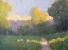 Painting a Day, Impressionist landscape of a path through a field at twilight by artist Steve Allrich. Love this one.