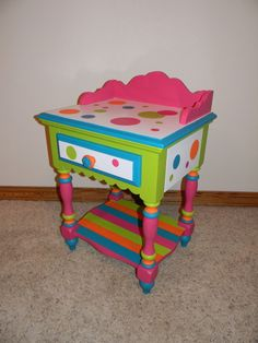 Painted kids furniture, I painted this night stand of my daughters to match her comforter. It used to be just white. , Painted kids furniture, Home Decor Project