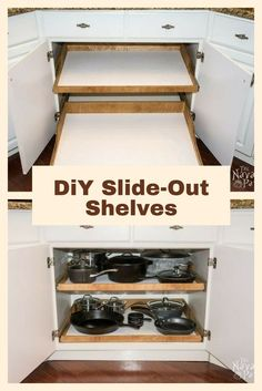 diy slide out shelves   a husband and wife want more kitchen cabinet space free plans for sliding kitchen drawers  add them to your cabinets      rh   pinterest com