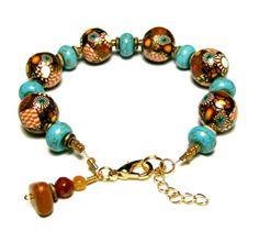 Handmade Polymer Clay Bead Canework Bracelet by SweetchildJewelry, $22.00