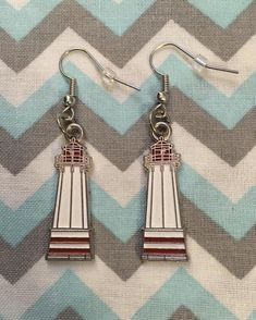 Enamel Red White LIGHTHOUSE Earrings Fish Hook Dangle | Etsy Fish Hook Earrings, Dangle Earrings, Unisex Gifts, Happy Shopping, Lighthouse, Jewerly, Red And White, Dangles, Handmade Items