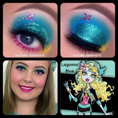 Monster High Lagoona Blue Makeup. YouTube channel: https://www.youtube.com/user/GlitterGirlC